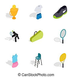Tennis game icons, isometric 3d style
