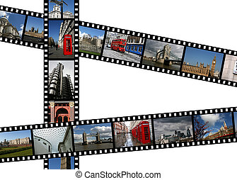 London - Illustration - film strips with travel photos....