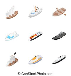 Water transport icons, isometric 3d style - Water transport...