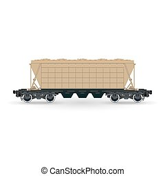 Hopper Car , Cargo Wagon Isolated - Hopper Car for...