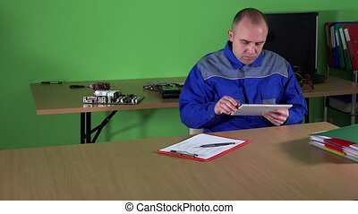 Computer technician man work with tablet and client woman...