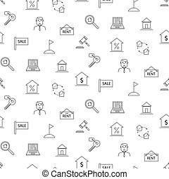 Real estate black and white icon seamless pattern.