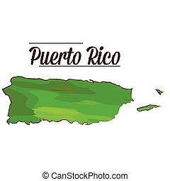 Isolated Puerto Rico map - Isolated map of Puerto Rico on a...