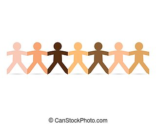 Paper People Skin Tones - Paper chain cut out people in...