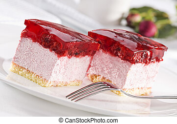 Cake - Beautiful tasty raspberry cake close up shoot