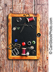 Sewing thread and buttons - Set of buttons and sewing thread...