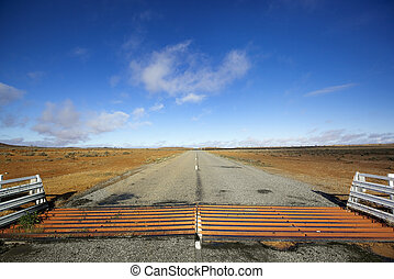 Outback Cattle Grid - Cattle grid or guard, on road in the...