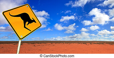 Kangaroo Road Sign - Kangaroo warning sign in the Australian...