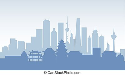 China silhouette architecture buildings town city country travel