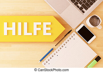Hilfe - german word for help - linear text arrow concept...