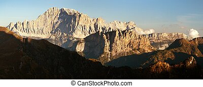 Evening panoramic view of mount Civetta, South Tirol,...