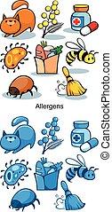 Cartoon Allergen Icons Set - Cartoon allergen icons set of...