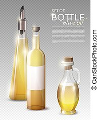 Realistic Olive Oil Bottles Set