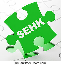 Stock market indexes concept: SEHK on puzzle background -...