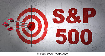Stock market indexes concept: target and S&P 500 on wall background