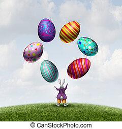 Eier, Ostern, jonglieren, kanninchen