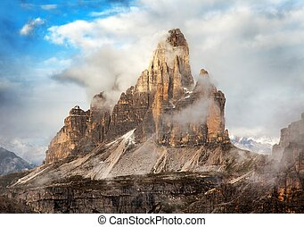 Morning view of Drei Zinnen or Tre Cime di Lavaredo with...