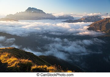 Morning view of mount Civetta from Col di Lana, South Tirol,...