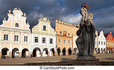 statue of st. Margaret on Telc or Teltsch town square - view...