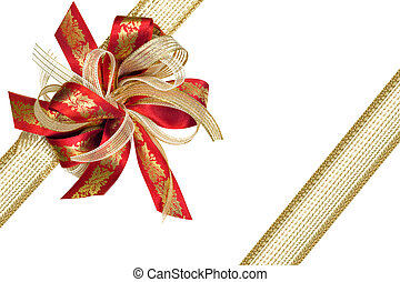 Red and Gold Ribbon Gift Bow - Red and gold Christmas ribbon...