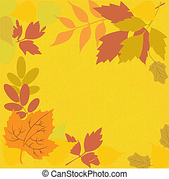 yellow background with leaves - frame from different...