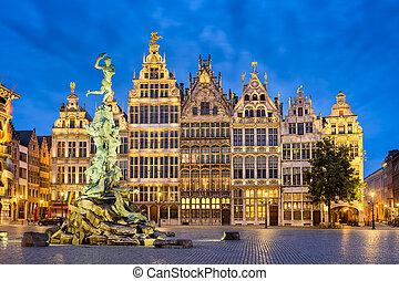 Grote Markt in Antwerp, Belgium at night