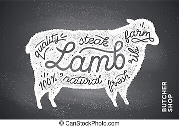Poster with red lamb silhouette. Lettering - Trendy...