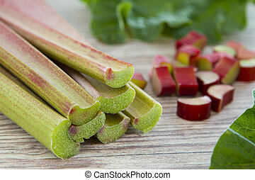 Rhubarb - Fresh rhubarb on wooden background