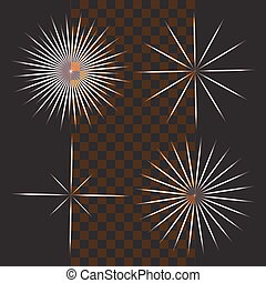 Bright flashes of colored stars on a dark background and transparent. Vector design elements
