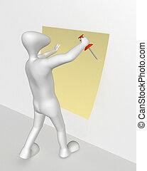 Drawing-pin - 3D human attaches to the wall piece of paper.