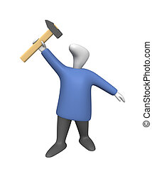Striker - Three-dimensional image - a man raising a hammer...