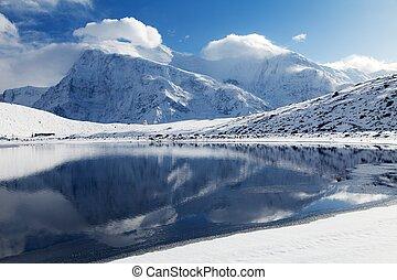 Annapurna range mirroring in Ice Lake - Panoramic view of...