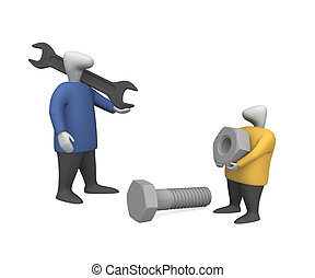 Adjusters 2 - Three-dimensional image - people with a nut...
