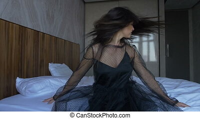 Beautiful long hair in motion super slow motion - The girl...