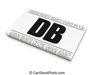 Stock market indexes concept: newspaper headline DB on White...