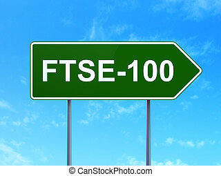 Stock market indexes concept: FTSE-100 on road sign...
