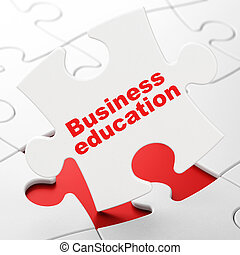 Studying concept: Business Education on puzzle background -...