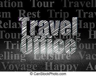 Travel concept: Travel Office in grunge dark room