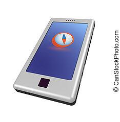Smartphone - compass - Three-dimensional model - a modern...