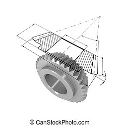Gear and drawing - Three-dimensional model of bevel gear. On...