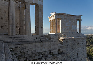 Monumental gateway Propylaea in the Acropolis of Athens,...