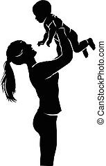 Silhouette mother and baby - Silhouette mother and little...