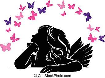 Little girl angel and Butterflies - Little girl angel...
