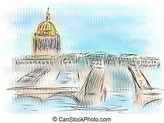 st petersburg. abstract illustration on multicolor...