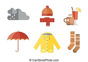 collection of autumn clothes set items the fall rain clouds...