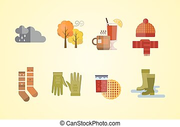 autumn clothes set items the fall tree clouds cold weather...