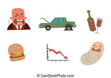 Businessman heart risk man heart attack stress infarct...