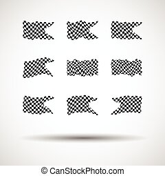 Racing background set collection of 9 checkered flags vector illustration. EPS10