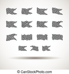Racing background set collection of 15 checkered flags vector illustration. EPS10