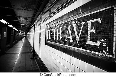 Fifth Avenue Subway Station - Black and white image of the...